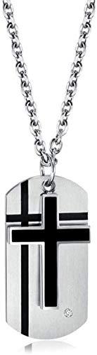 NC122 Collar con Colgante Cruz de Acero de Titanio Hombre Cadena Dos en uno Hombres Mujeres Etiquetas de Perro Militares Personalizadas