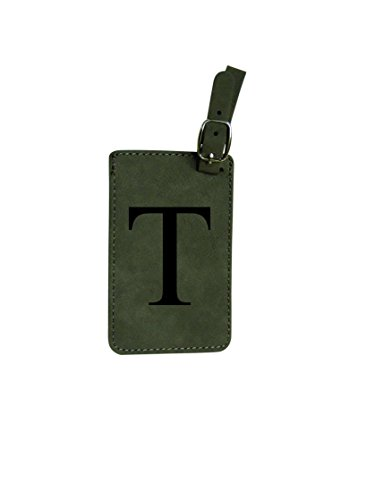 Luggage Tag Initial-Grey Engineered Leather with Individual Letters-Personalized Luggage Tags for Travel (T)