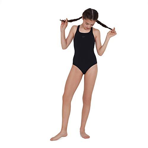 Speedo Essential Endurance+ Medalist Badeanzug Mädchen, Badeanzug Kinder, Schwarz, Größe 128