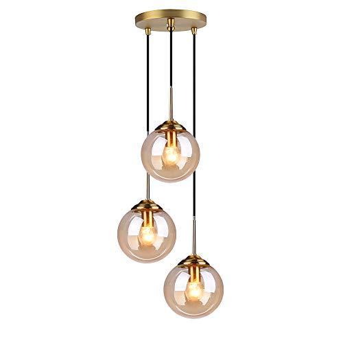 MZStech Industrial Retro Loft, lámpara colgante de 3 vías, lámpara de racimo,...
