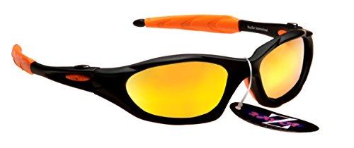 Rayzor Professionnel léger UV400 Noir Sport Wrap Ski Lunettes de Soleil, avec l'or Iridium Miroir Anti-éblouissement Lens.