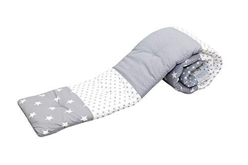 ULLENBOOM Protector para bordes de cuna │ Chichonera bebé también para colecho │ Parachoques de algodón 170x30 cm │ estrellas grises