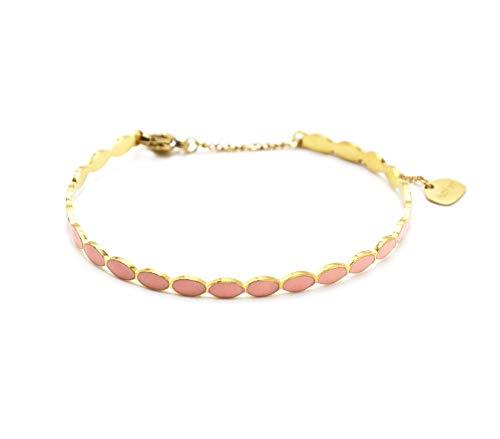 Oh My Shop BC4310 – Pulsera fina ovalada esmaltada rosa pala y cadena de acero dorado