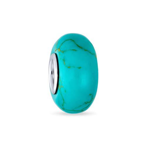 Azul verde estabilizado turquesa gema espaciador cuenta encanto cuenta para las mujeres 925 plata de ley se adapta a la pulsera europea