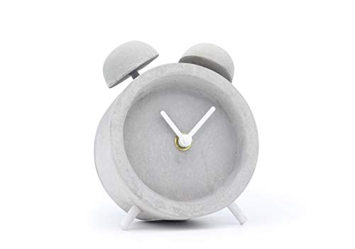 Driini Concrete Twin Bell Desk and Table Clock - Battery Operated with Precise Silent Sweep Movement. Perfect Small Clock for Guest Room, Bathroom, Living Room or Office.