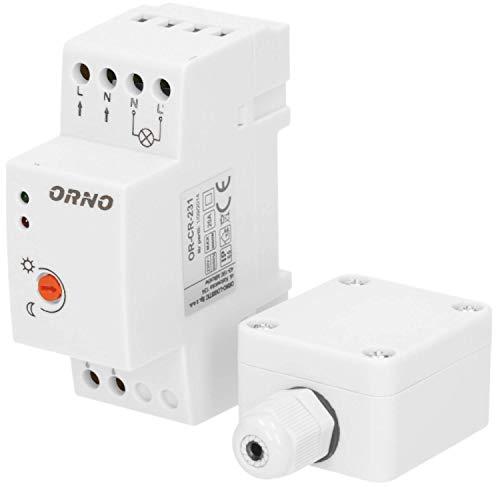 ORNO CR- 231 Dämmerungsschalter Aussen für DIN-Schiene mit externer Sonde, IP65, Lichtstärke LUX Anpassung