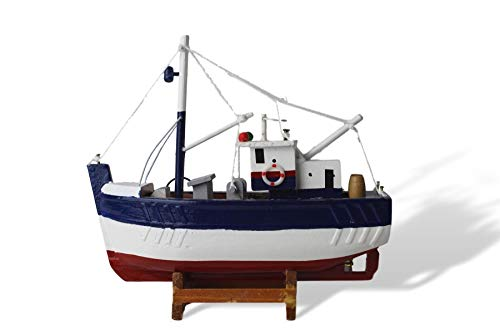 Barco de pesca de madera modelo azul marino blanco y rojo con toques de acabado de pesca realistas