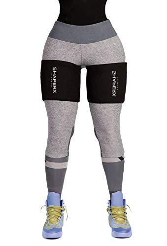 SHAPERX Oberschenkelbandage, verstellbare Kompressionsbandage Anti-Rutsch-Klettverschluss für Oberschenkel Verletzung,Laufen und Sport Gewichtsverlust,UK-DT8016-Black-One Size