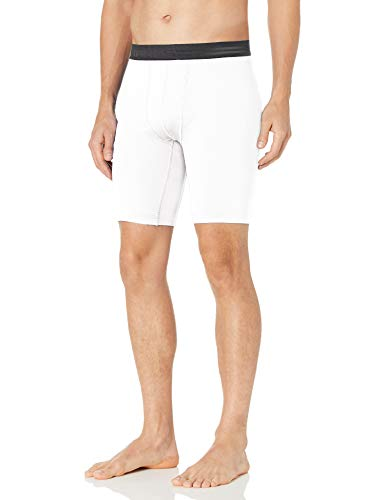 Hanes Men's Sport Performance Compression Short, True White/Ebony, Medium