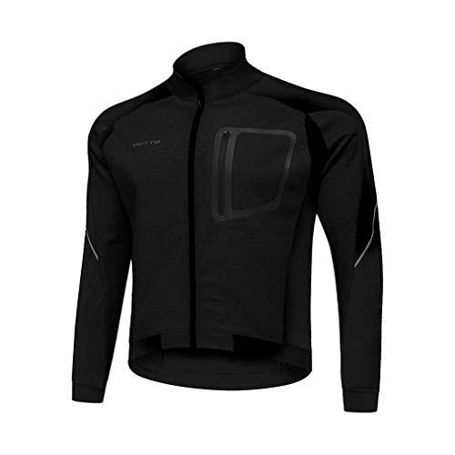 MHSHXY fietsshirt sneldrogende mannen herfst en winter fleece lange mouwen waterdicht winddicht fietskleding Mtb sportjack zwart-XXXL