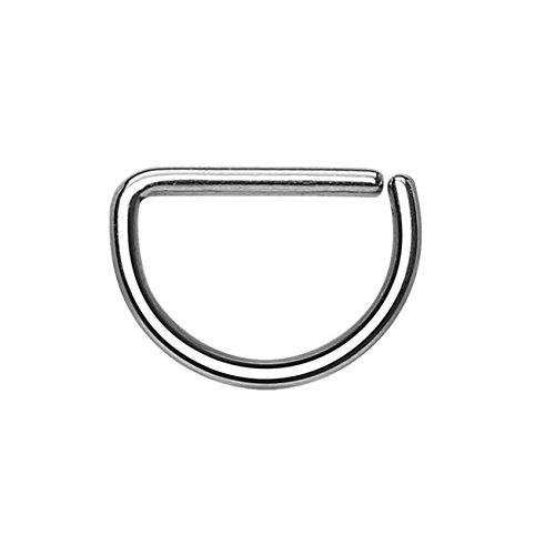 Paula & Fritz® Halbrunder biegbarer D-Form UNIVERSAL Fake Hoop Ring 12mm lang 1.2mm dick Silber Segmentring Septum Tragus Helix Cartilage Nasen-Piercing Ohrklemme Nostril Chirurgenstahl Titan