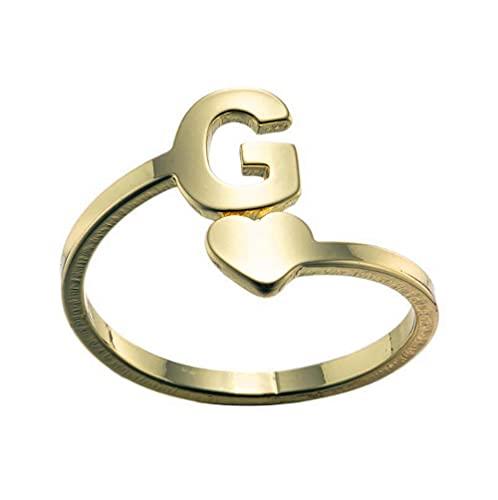 Anillos para mujer de acero inoxidable anillo del alfabeto para niñas apertura ajustable anillo pareja amigos anillos joyería regalos para ella oro g