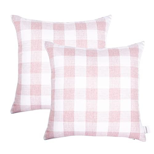 JES&MEDIS - Fundas de almohada cuadradas de algodón con diseño de cuadros, 45,7 x 45,7 cm, color rosa, juego de 2, sin relleno de almohada