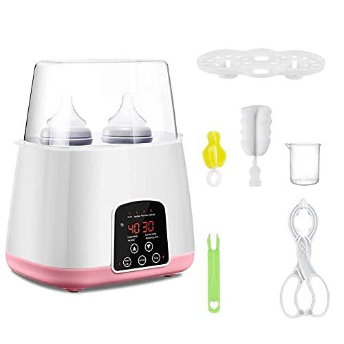Calentador de biberones para bebés, Esterilizador para biberones, Calentador de alimentos para bebés, Calentador de biberones doble para leche materna, con pantalla LCD, temporizador (ROSA)