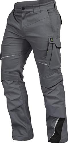 LEIB WÄCHTER Flex-Line Arbeitshose Bundhose Premium grau-schwarz mit Spandex Gr.42-68/24-30/90-110 (48)