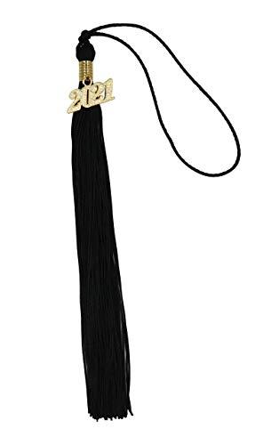 Ruwado Year Academic Graduation Tassel with 2021 Charm Silk Soft Handmade Cap Tassel Accessories for Graduate Cap Hats Ceremony Decoration Ceremonies Souvenir (Black, 2021)