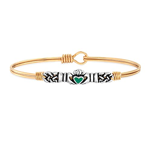 Luca + Danni Green Irish Claddagh Bangle Bracelet with Celtic Knot For Women - Brass Tone Large Size Made in USA
