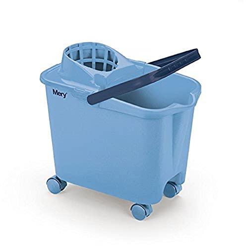 Cubo para fregona con ruedas, asa y escurridor, modelo Mery, 14 litros, cubo limpieza profesional y hogar 30 x 22,5 x 39 cm, escurridor por presión, soporte para palo y apoyo para pié, color azul