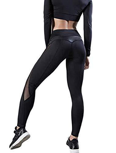 ASKSA Damen Sport Leggings Yoga Fitness Hose Lange Sporthose Stretch Workout Mullnähte Butt Lift Hosenanzug Trainingsanzug Jogginghose(Schwarz,M)