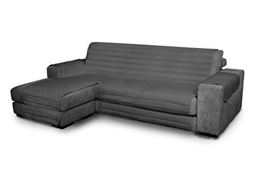 Italian Bed Linen Elegant - Funda Protectora para Sofá Chaise Longue Izquierdo, Microfibra, Gris oscuro, Medida del asiento...