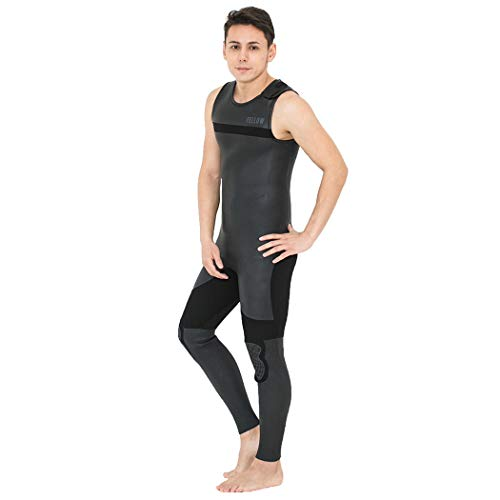FELLOW ウェットスーツ メンズ ロングジョン ノンジップ 3mm スキン クラシック ラバー 肩ベルクロ サーフィン ウエットスーツ SUP 日本規格 STONE BLACK MLBサイズ