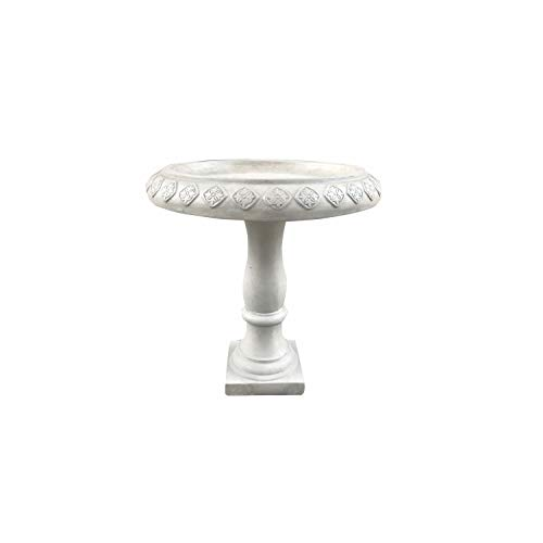 Kante RC01197A-C80091 Lightweight Traditional Textured Flower Diamond Pattern Birdbath, Weathered Concrete