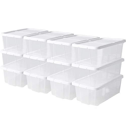 femor 24er-Set Aufbewahrungsboxen 6 Liter Kisten mit Deckel und Klickverschluss Stapelboxen Transparent Plastik Kunststoff (35 x 20 x 12,5 cm)