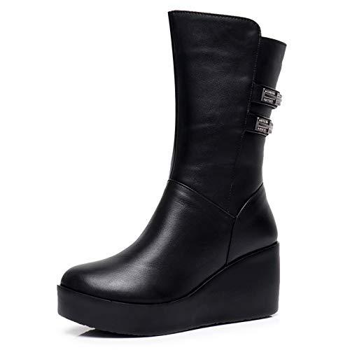 Shukun Enkellaarzen Winter Small Size Women'S Boots Pu Dikke Warm Katoenen Laarzen Slope Hoge Hak Dikke Bodemlaarzen Schoenen Platform Schoenen