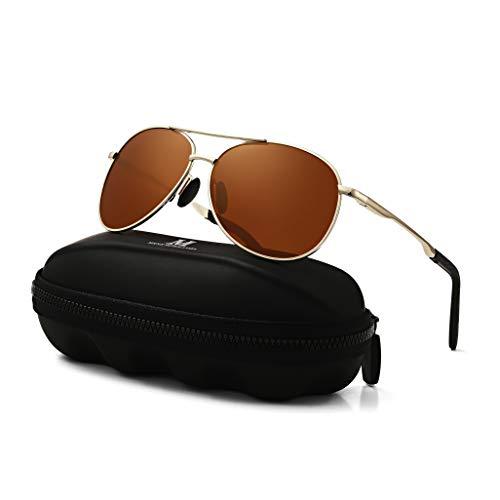MXNXEU Sonnenbrille Herren Pilotenbrille Polarisiert Pilotenbrille Polarisierte Sonnenbrille Herren Outdoor Pilot Unisex UV400 Fahren Sonnenbrille-Braun/Gold