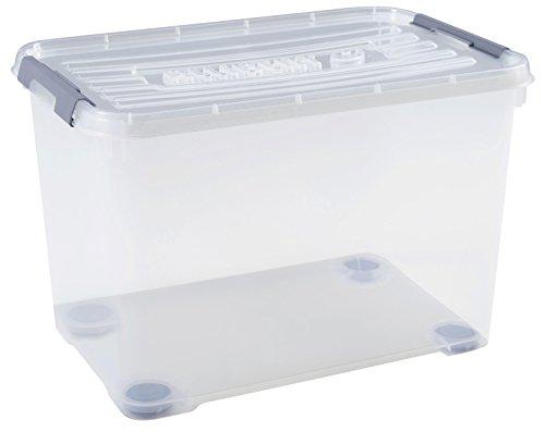 CURVER | Boîte de rangement Handy box Plus 65L+ clips Gris + roues avec couvercle, Transparent, 60 x 40 x 38,8 cm, Plastique