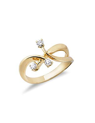 Gioielli di Valenza - Anello Trilogy in Oro giallo 18k con Diamanti ct. 0,22 - TRR1421-22GB - 16
