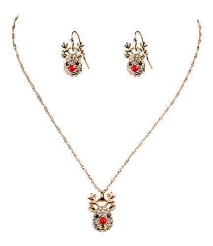 SIX Set aus weihnachtlicher Halskette und Ohrringen mit Rentiermotiv (152-111)