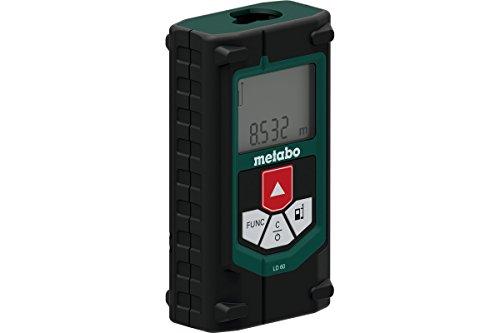 Metabo 606163000 Laser Distanzmessgerät LD 60 | + Gürteltasche, 2 Batterien AAA 1,5 V (LR03) | Funktionen: Länge, Fläche, Volumen, Tracking, Pythagoras ½ (Laserklasse: 2 / Schutzart IP 40)