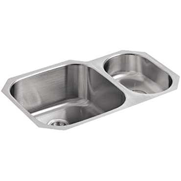 KOHLER K-3355-NA Undertone High/Low Undercounter Kitchen Sink, Stainless Steel