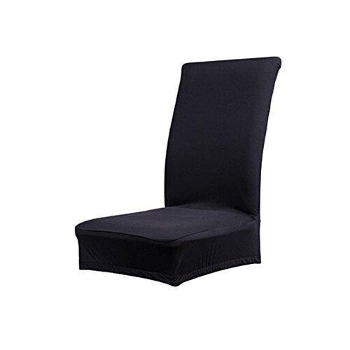 D&&R 1 x Housse de Chaise de Salle à Manger Couverture Amovible Stretch Unie Polyester Spandex (Noir)