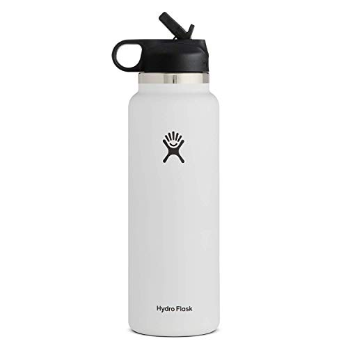 Hydro Flask Wide Mouth 2.0 Water Bottle, Straw Lid - 32 oz, White