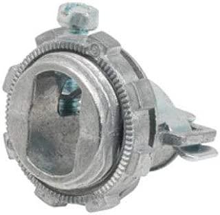 Bridgeport 545 Ac/Mc Single Screw Strap Connector, 3/8 Inch, 180 Deg, Zinc Die Cast