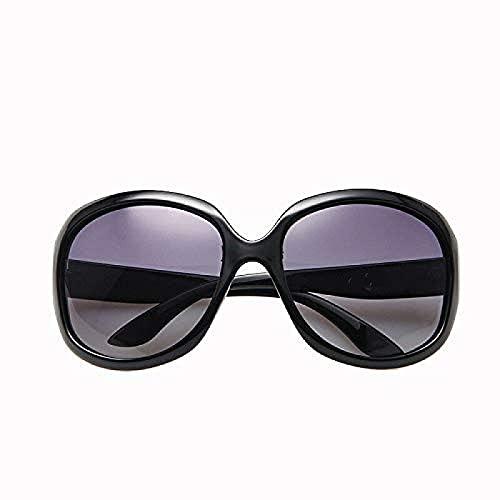 JINGXING Big Frame Ladies Ladies Gafas de Sol Retro Moda Anti-Ultraviolet (Negro)