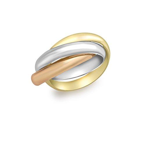 Carissima Gold Anillo para mujer, con oro tricolor de 9K, talla 11
