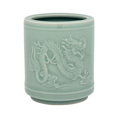 BangQiao Decorative Vintage Ceramic Desktop Pencil Cup Holder Caddy Organizer with Embossed Dragon Pattern for Desk, Office, and Home, Cyan Color