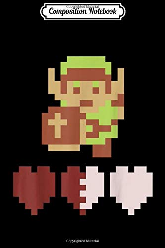 Composition Notebook: Legend Of Zelda Link Heart Meter Pixel Art Portrait  Journal/Notebook Blank Lined Ruled 6x9 100 Pages