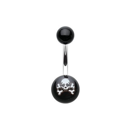 Pirate Skull Acrylic Logo Belly Button Ring