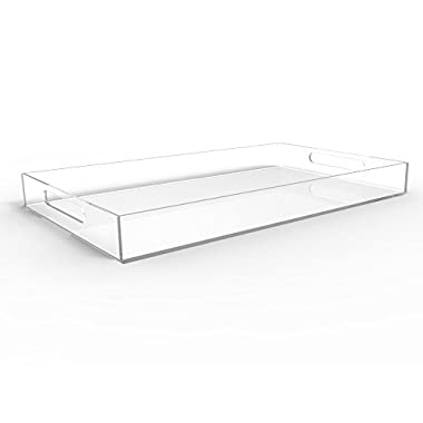 CLEAR SERVING TRAY - Spill Proof - 20  Large Premium Acrylic Tray for Coffee Table, Breakfast, Tea, Food, Butler - Decorative Display, Countertop, Kitchen, Vanity Serve Tray with Handles by Vale Arbor
