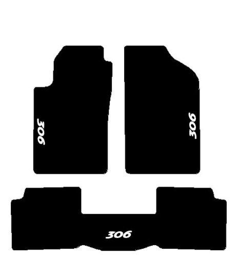SonCar Set Complet De Tapis Sur Mesure En Moquette Avec Broderie Et Tapis Arrière En Une Pièce Noir Blanc