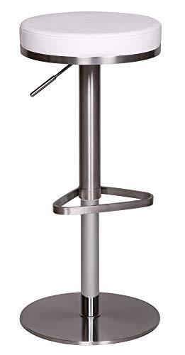 FineBuy Barhocker FB1281 Weiß Edelstahl höhenverstellbare Sitzhöhe 57-82 cm | Barstuhl Modern 360° Drehbar | Tresenhocker mit Standfuß | Design Bistrohocker Hoch | Tresenstuhl-Sitz Gepolstert