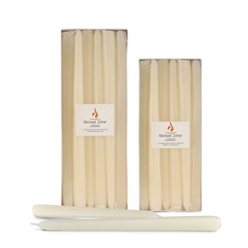 Michael Zohar Candles - 12 Pack Unscented, Hand Dipped Taper Candle - Dripless Clean Burn - 8 Hour Burn Time - Ideal for Weddings, Dinners, Restaurants, Florists and Decor (Ivory, 10 Inch)