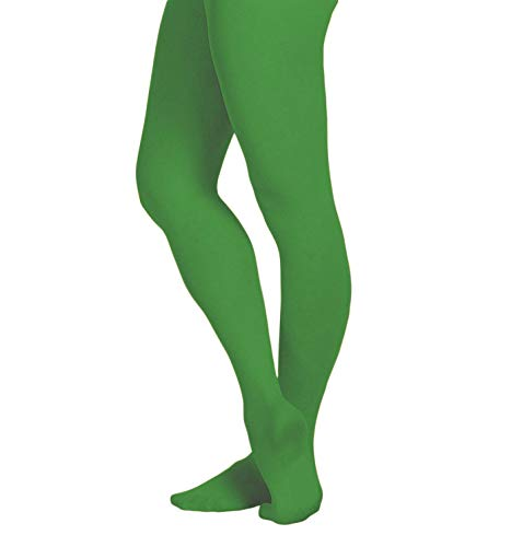 EMEM Apparel Women's Ladies Solid Colored Opaque Dance Ballet Costume Microfiber Footed Tights Stockings Fashion Kelly Green D