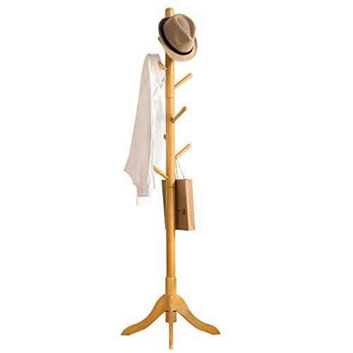 Vlush Perchero de madera con 8 ganchos, entrada en forma de árbol con base de madera maciza de caucho para ropa, sombreros, bolsos, paraguas (natural)