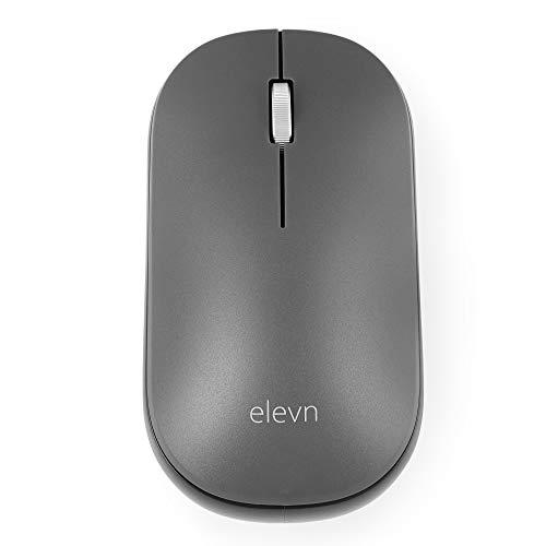 elevn ergo11s 2.4GHz Premium Silent Wireless Optical Mouse for Laptop, Desktop, PC, MacBook – Grey, Black