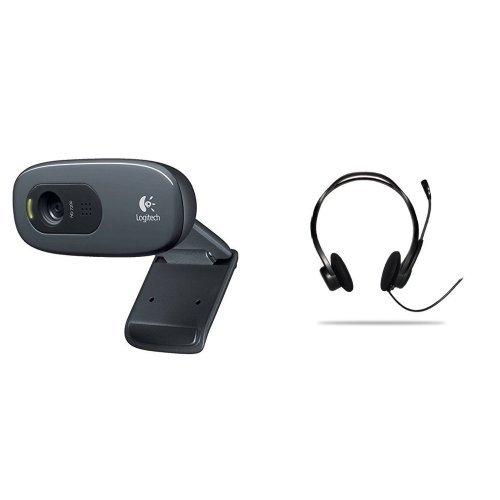 Pack Logitech Webcam HD C270 Vidéo 720p Microphone Intégré et Logitech PC 960 Casque PC USB Noir